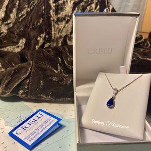 Crislu 💙 Sapphire Teardrop Pendant Necklace H2